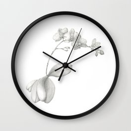 Flowering Orchid in Graphite Wall Clock