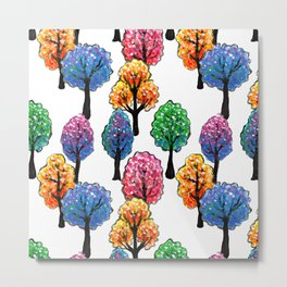 Forest - Tree Pattern Illustration - Acrylic Painting Metal Print