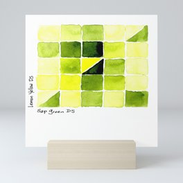 Color Chart - Lemon Yellow (DS) and Sap Green (DS) Mini Art Print