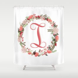Personal monogram letter 'I' flower wreath Shower Curtain