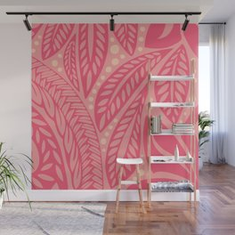 Hawaiian Polynesian Floral Pink Tattoo Design Wall Mural