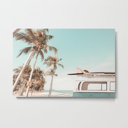Retro Camper Van with Surfboard at the Beach Metal Print