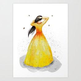 woman in yellow Art Print