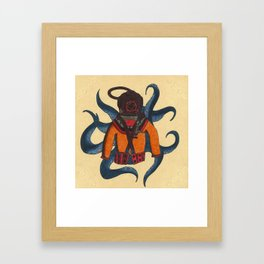 Orange Scuba Diver Framed Art Print