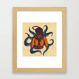 Orange Scuba Diver Framed Art Print