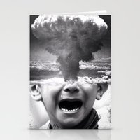 war Stationery Cards featuring War by Cash Mattock