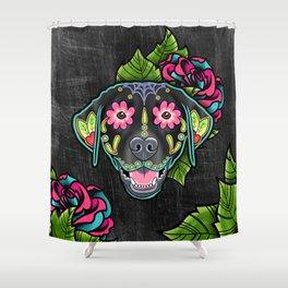 Labrador Retriever - Black Lab - Day of the Dead Sugar Skull Dog Shower Curtain