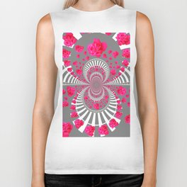 ABSTRACT PINK ROSES ON GREY COLOR ART Biker Tank