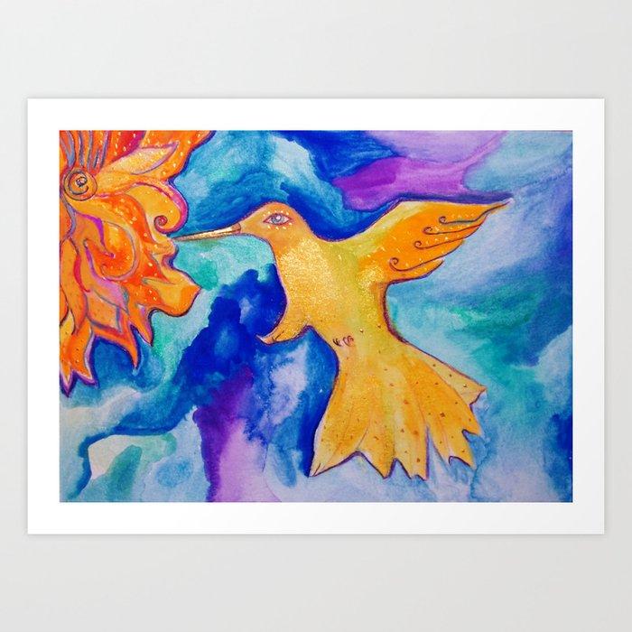 Watercolor Sun Bird Modern Fine Art Painting by Garden Of Delights Art Print