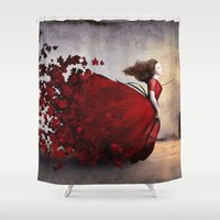 ariana grande Shower Curtains featuring Amor by Christian Schloe