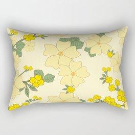 Flowers, Petals, Leaves, Blossoms - Yellow Green Rectangular Pillow