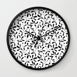 Rustic Mistletoe White and Black Wall Clock