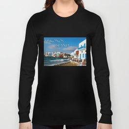 Seaside Cafe on Mykonos Island Greece Long Sleeve T-shirt
