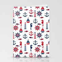 navy Stationery Cards featuring Navy by Valmo. Surface pattern design by Valeria
