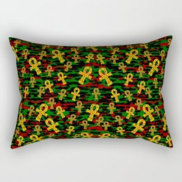 Red Black Green Ankh Rectangular Pillow