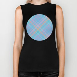 Colorful Plaid Pattern with Blue Background Biker Tank