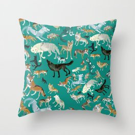 Wolves of the World Green pattern Throw Pillow