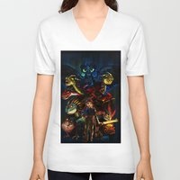 dragons V-neck T-shirts featuring DRAGONS!! by Yahualli