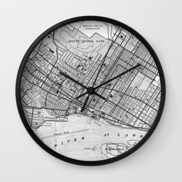 Vintage Map of Montreal (1906) BW Wall Clock