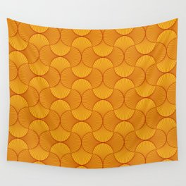 Happy Orange Retro Flowers Abstract Wall Tapestry
