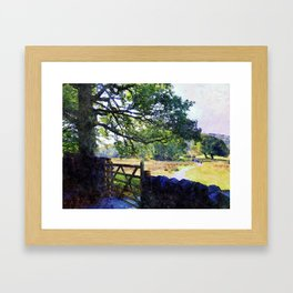 5 barred Gate and Oak in the Park, Lake District, UK. Watercolour Art. Framed Art Print