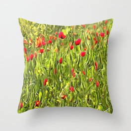 Surreal Hypnotic Poppies Throw Pillow