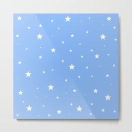 Scattered Stars on Sky Blue Metal Print