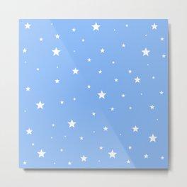 Scattered Stars on Sky Blue Metal Print