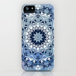 MAGICAL BLUE AND WHITE FLORAL MANDALA iPhone Case