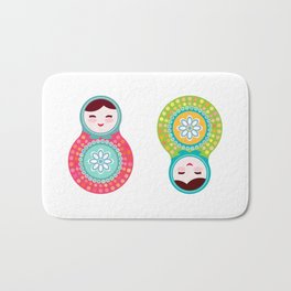 dolls matryoshka, pink and blue colors Bath Mat