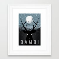 bambi Framed Art Prints featuring Bambi by Rowan Stocks-Moore