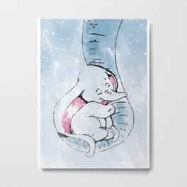 Baby elephant and his mother Metal Print