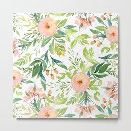 Happy Coral Pink + Green Rose Garden Metal Print