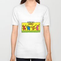 keith haring V-neck T-shirts featuring Haring Time by le.duc