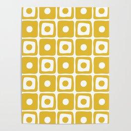 Mid Century Square Dot Pattern Mustard Yellow Poster