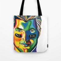 tim shumate Tote Bags featuring Tim Tebow by Kelsey Gilman7