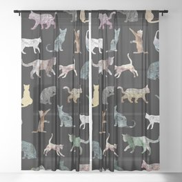 Cats shaped Marble - Black Sheer Curtain