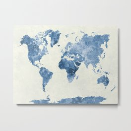 World map in watercolor blue Metal Print