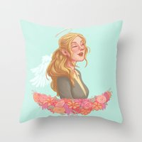 beth hoeckel Throw Pillows featuring Beth Greene by Chelsea Bee