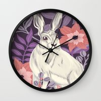 hare Wall Clocks featuring Hare by Abbie Imagine