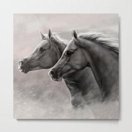 Two Horses Painting Gift Black Stallions                                          Metal Print