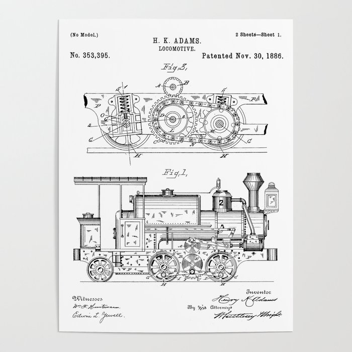 steam train patent - steam locomotive art - black and white poster