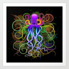 Octopus Psychedelic Luminescence Art Print