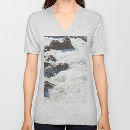 White water, dark rocks Unisex V-Neck