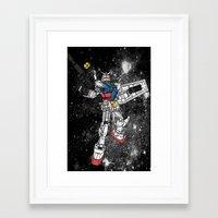 gundam Framed Art Prints featuring Fly, Gundam! by Paul Reoyo