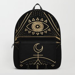 Mandala Tribal Eye Copper Bronze Gold Backpack