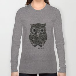 Zentangle Owl Fineliner Pen Drawing Long Sleeve T-shirt