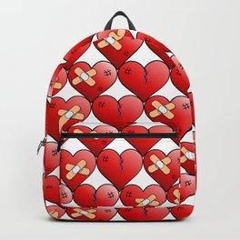 broken heart pattern white Backpack
