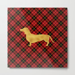 Red Plaid Dachshund Metal Print