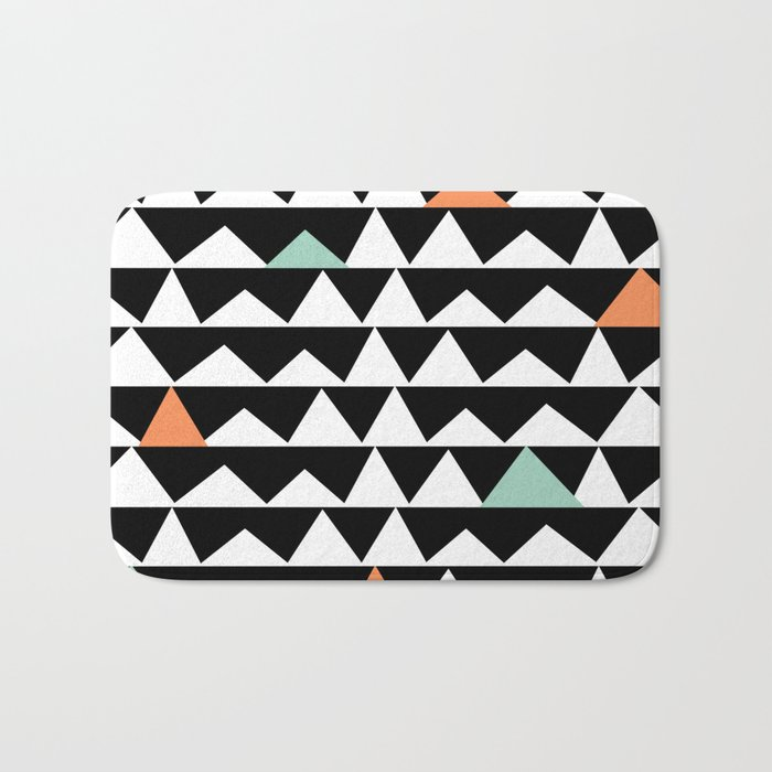Tribal Triangles, Geometric Aztec Andes Pattern Bath Mat